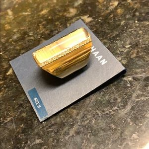 NWT Cole Haan Gold W Pave And Crystal Ring Size 8